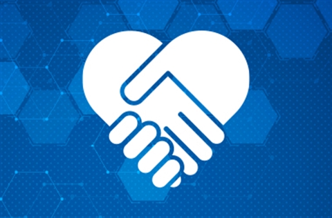 Blue hex patterned background with holding hands heart icon