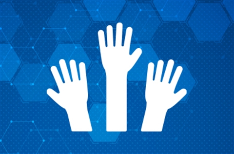 Blue hex patterned backgroun with three hands raised to help icon